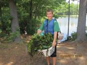 Volunteers pull invasive water chestnut from the Nashua River - photo by Martha Morgan