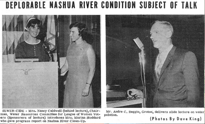 """Sewer-Cide"" newspaper  clipping - Marion Stoddart and Andre Reggio report on the Nashua River clean-up to the League of Women Voters"