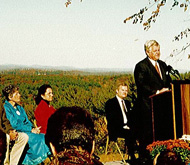 Senator Kennedy speaks overlooking the Oxbow Refuge