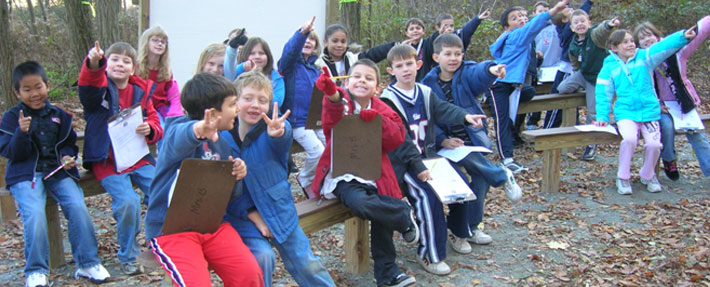 Fall Brook students in an outdoor classroom – Photo by Pete Lanza