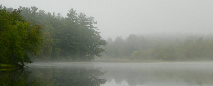 Mist over Harbor Pond in Townsend, MA - Photo by Kim King