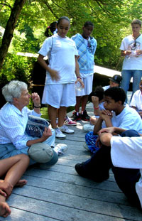 Marion Stoddart addresses a youth group during an environmental education program