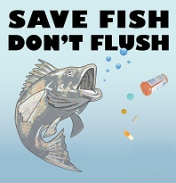 Save Fish Don't Flush - graphic by Nancy Turkle