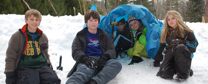 Learning winter survival skills during an NRWA Eco-Adventure