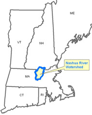 The Nashua River watershed encompasses 538 square miles of land in north central Massachusetts and southern New Hampshire